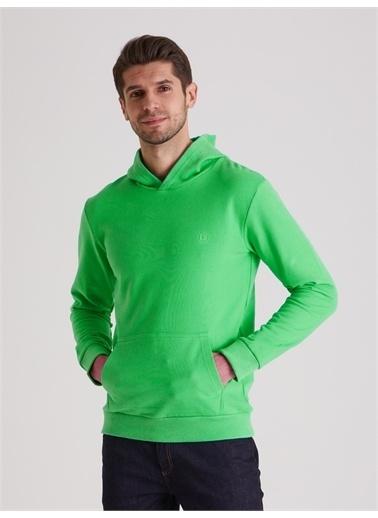 Dufy Düz Kapüşonlu Erkek Sweatshirt - Regular Fit Yeşil